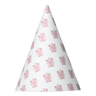 Cute Surprised Pink Pig Party Hat