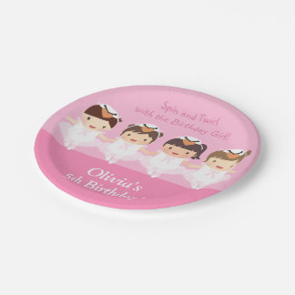 Cute Swan Ballerina Birthday Party Supplies 7 Inch Paper Plate