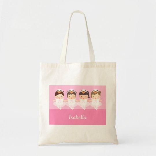Cute Swan Ballet Ballerina Girls Tote Bag