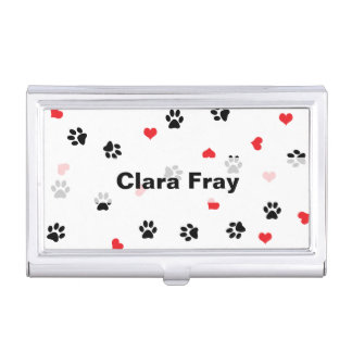 Cute sweet clear black paw red heart pattern business card holder