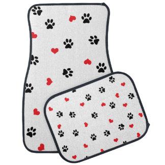 Cute sweet clear black paw red heart pattern car mat