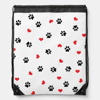 Cute sweet clear black paw red heart pattern drawstring bag