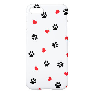 Cute sweet clear black paw red heart pattern iPhone 8/7 case