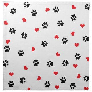 Cute sweet clear black paw red heart pattern napkin
