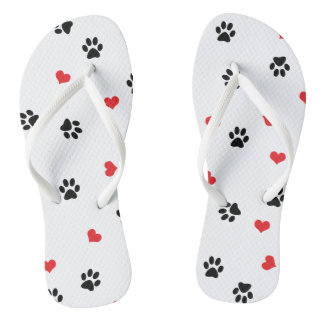 Cute sweet clear pet paw and red heart pattern flip flops