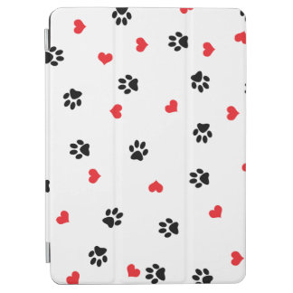 Cute sweet clear pet paw and red heart pattern iPad air cover