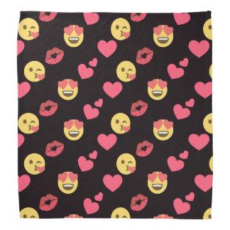 cute sweet emoji love hearts kiss lips pattern bandana
