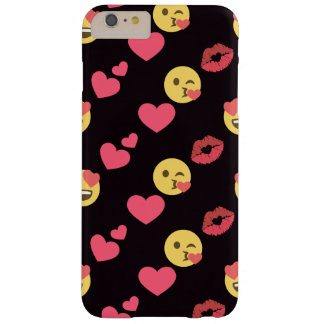 cute sweet emoji love hearts kiss lips pattern barely there iPhone 6 plus case