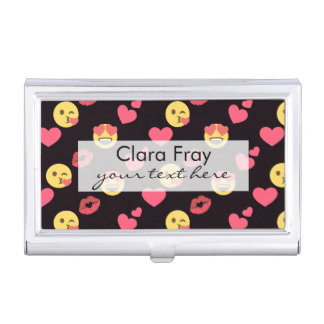 cute sweet emoji love hearts kiss lips pattern business card holder