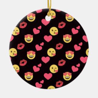 cute sweet emoji love hearts kiss lips pattern ceramic ornament