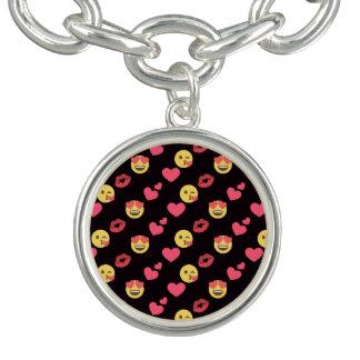 cute sweet emoji love hearts kiss lips pattern charm bracelets