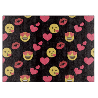 cute sweet emoji love hearts kiss lips pattern cutting board