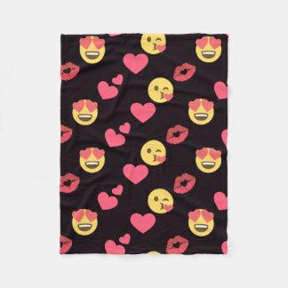cute sweet emoji love hearts kiss lips pattern fleece blanket