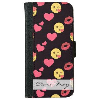 cute sweet emoji love hearts kiss lips pattern iPhone 6 wallet case