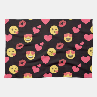 cute sweet emoji love hearts kiss lips pattern kitchen towel