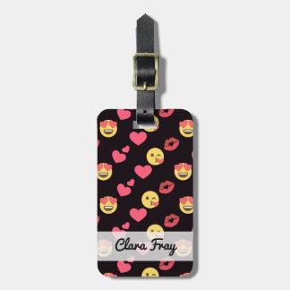 cute sweet emoji love hearts kiss lips pattern luggage tag