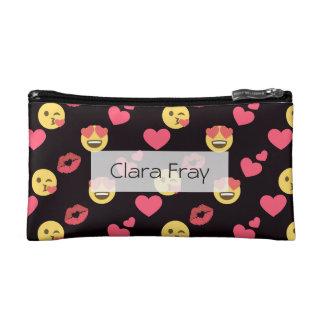 cute sweet emoji love hearts kiss lips pattern makeup bags