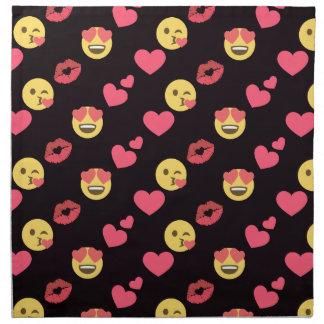 cute sweet emoji love hearts kiss lips pattern napkin