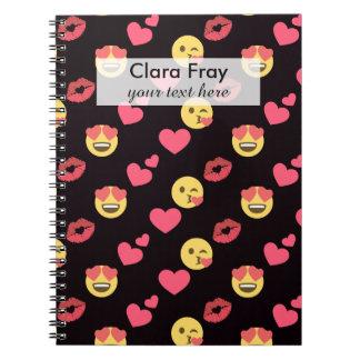 cute sweet emoji love hearts kiss lips pattern notebook
