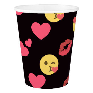 cute sweet emoji love hearts kiss lips pattern paper cup