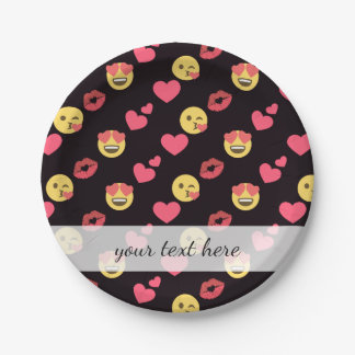 cute sweet emoji love hearts kiss lips pattern paper plate