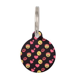 cute sweet emoji love hearts kiss lips pattern pet tag