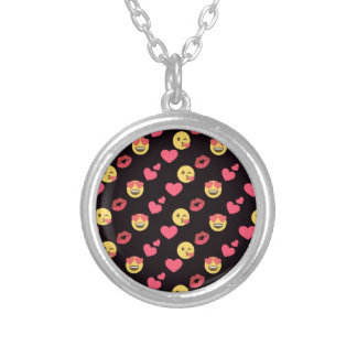 cute sweet emoji love hearts kiss lips pattern silver plated necklace