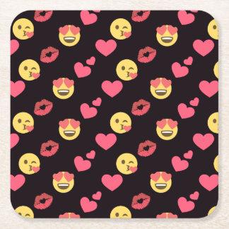cute sweet emoji love hearts kiss lips pattern square paper coaster