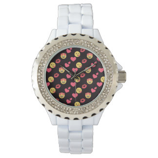 cute sweet emoji love hearts kiss lips pattern watch