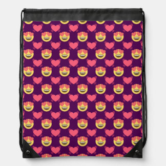 Cute Sweet In Love Emoji, Hearts pattern Drawstring Bag