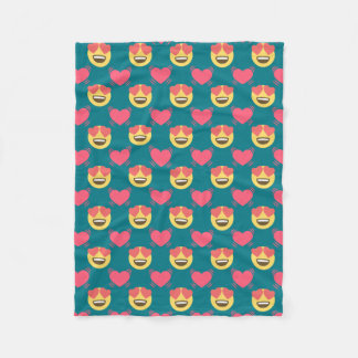 Cute Sweet In Love Emoji, Hearts pattern Fleece Blanket