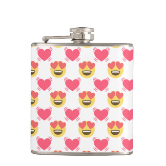Cute Sweet In Love Emoji, Hearts pattern Hip Flask