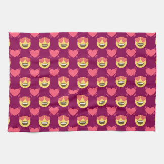 Cute Sweet In Love Emoji, Hearts pattern Kitchen Towel