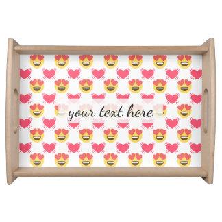 Cute Sweet In Love Emoji, Hearts pattern Serving Tray
