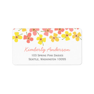 Cute Sweet Pink Daisy Pop Birthday Address Labels