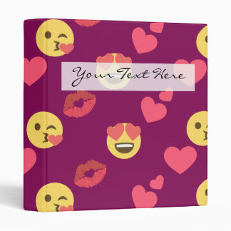 Cute Sweet Pink Emoji Love Hearts Kiss Pattern 3 Ring Binder