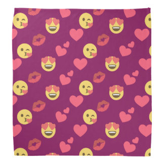 Cute Sweet Pink Emoji Love Hearts Kiss Pattern Bandana