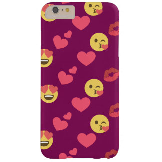 Cute Sweet Pink Emoji Love Hearts Kiss Pattern Barely There iPhone 6 Plus Case