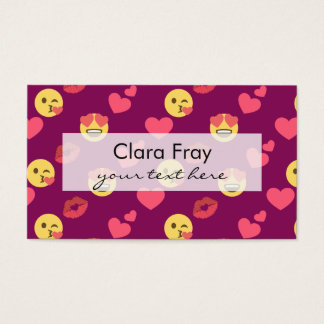 Cute Sweet Pink Emoji Love Hearts Kiss Pattern Business Card