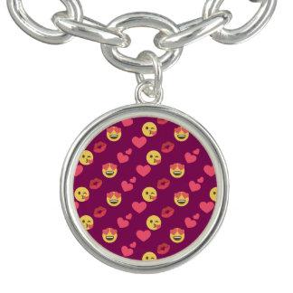 Cute Sweet Pink Emoji Love Hearts Kiss Pattern Charm Bracelet