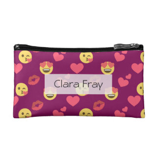 Cute Sweet Pink Emoji Love Hearts Kiss Pattern Cosmetic Bag