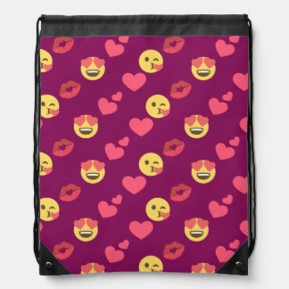 Cute Sweet Pink Emoji Love Hearts Kiss Pattern Drawstring Bag