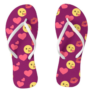 Cute Sweet Pink Emoji Love Hearts Kiss Pattern Flip Flops