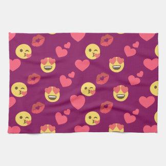 Cute Sweet Pink Emoji Love Hearts Kiss Pattern Hand Towel