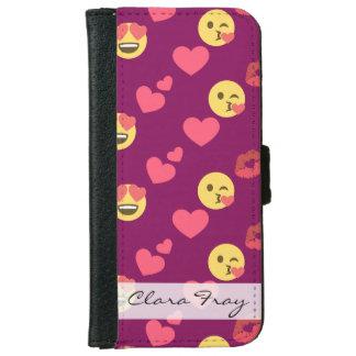 Cute Sweet Pink Emoji Love Hearts Kiss Pattern iPhone 6 Wallet Case