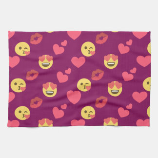 Cute Sweet Pink Emoji Love Hearts Kiss Pattern Kitchen Towel