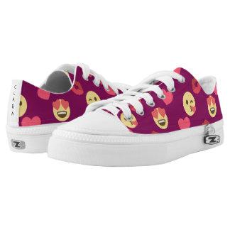 Cute Sweet Pink Emoji Love Hearts Kiss Pattern Low-Top Sneakers