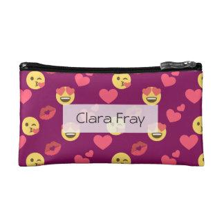 Cute Sweet Pink Emoji Love Hearts Kiss Pattern Makeup Bag