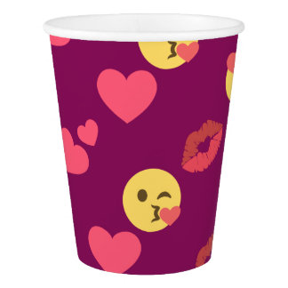 Cute Sweet Pink Emoji Love Hearts Kiss Pattern Paper Cup