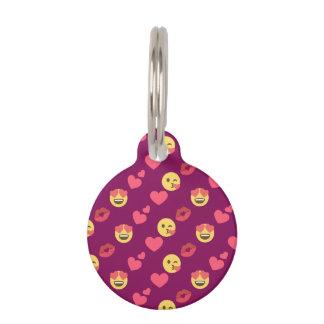 Cute Sweet Pink Emoji Love Hearts Kiss Pattern Pet Name Tag